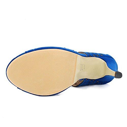 TAOFFEN Femmes Peep Toe Sandales Occidental Talons Hauts Cut-out Lacets Chaussures Bleu