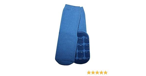 Weri Spezials Unisexe Bebes et Enfants Frotee-ABS Anti-Glissement Pantoufle Chaussons Chaussettes Bleu