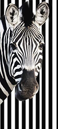 Türtapete selbstklebend Zebra vor Einem gestreiften Hintergrund 90 x 200 cm - einteilig Türaufkleber Türfolie Türposter - Tier gestreift schwarz Weiss Pferd Streifenmuster Afrika Wildtier Tierbild