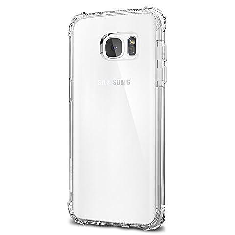 Coque Galaxy S7 Edge, Spigen [Crystal Shell] Extra Shock-Absorb [Clear Crystal] Clear back panel + Engineered TPU bumper Coque Samsung Galaxy S7 Edge (2016) - (556CS20037)