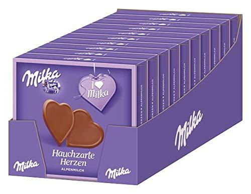 Milka Hauchzarte Herzen Alpenmilch/Hauchdünne, herzförmige Täfelchen aus Schokolade / 10 x 130g