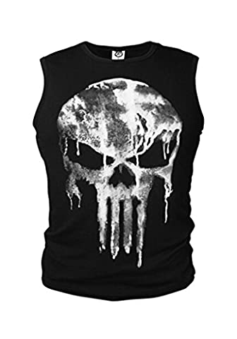 The Punisher Skull Logo Kostüm Herren T-Shirt Fit Armlos Hemd Tank Kult NEU XXL