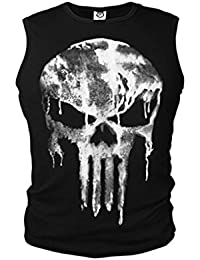 The Punisher Skull Logo Kostüm Herren T-Shirt Fit Armlos Hemd Tank Kult NEU