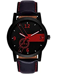 Swadesi Stuff Black Leather Strap Premium Quality Watch For Men & Boys