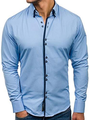 BOLF Hombre Camisa De Manga Larga Cuello Americano