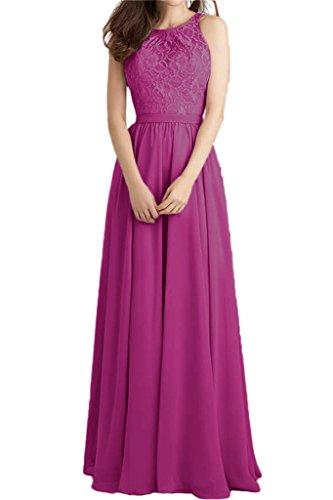 ivyd ressing robe populaire dentelle et mousseline de longueur A ligne Prom robe fixe Soirée Party robe robe - Fuchsia