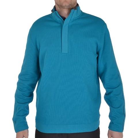 Ashworth Mens costilla 1/4 francés cremallera Golf sólido suéter - medio, color  - Enamel Blue, tamaño mediano