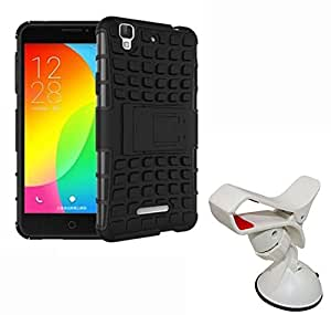 Aart Hard Dual Tough Military Grade Defender Series Bumper back case with Flip Kick Stand for MICROMAX Ureka + Car Mobile Holder Mount Bracket Holder Stand 360 Degree Rotating by Aart store.