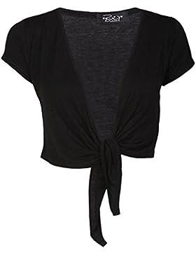 Janisramone mujeres señoras gorra manga lazo frontal recortada chaqueta de punto todo Bolero