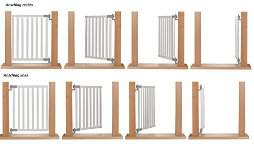 Impag® Treppenschutzgitter Absperrgitter Türschutzgitter Buche Massivholz 65 – 115 cm, Extrahoch 90 cm JW - 2