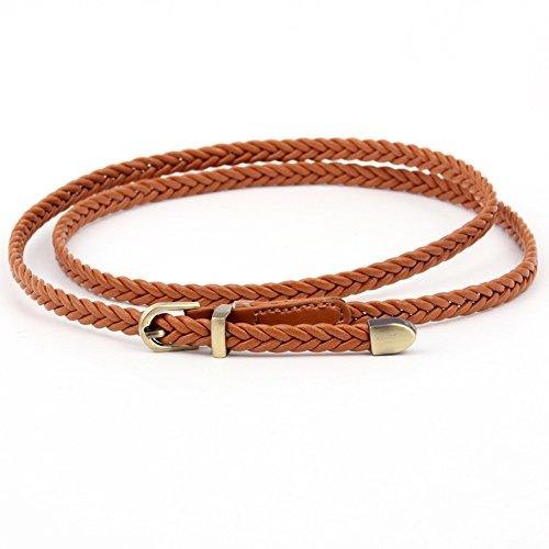 aler Flechtgürtel 0,8cm Geflochten Gürtel Vintage Taillengürtel Kleid Belt Gürtel (Camel) ()