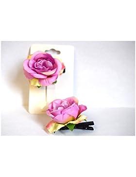 2Stück Wunderbare Rosa Zange Haar Blume–Farbe violett lila