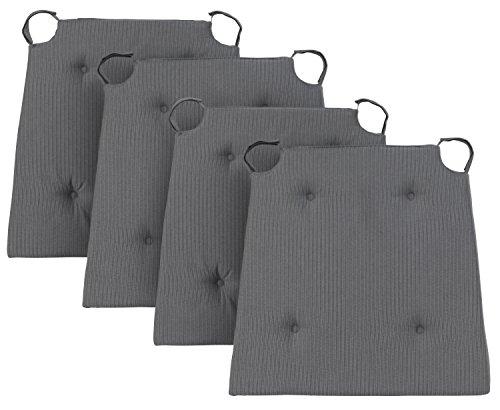 Traumnacht 03770325105 Stuhlkissen Basic 4er Set, mit einem Baumwollbezug, 40 x 42 x 4 cm, grau