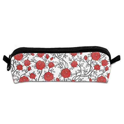 Vivid Red Rose Pen Pencil Stationery Bag Makeup Case Travel Cosmetic Brush Accessories