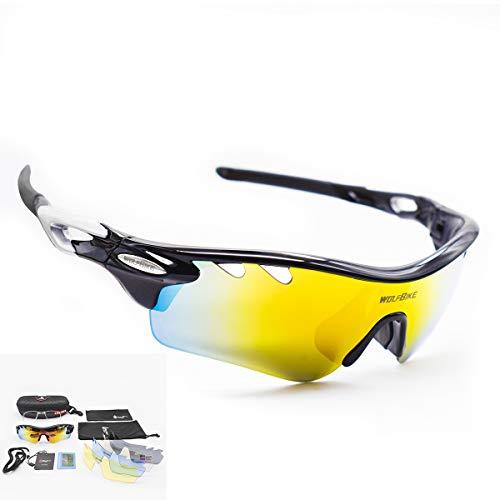 DUBAOBAO Sport-Sonnenbrillen Männer Und Frauen Polarisiert, Können Kurzsichtige Gläser Angeln Fahren Laufen Golf-Bike-Brillen-5 Austauschbare Objektive UV400 Schutz