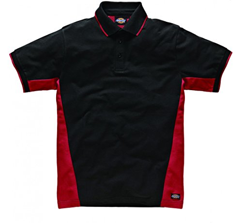 Dickies Zwei Ton Polo-Shirt Getäfelten Short Sleeve Work Workwear Mehrfarbig - Rot / Schwarz