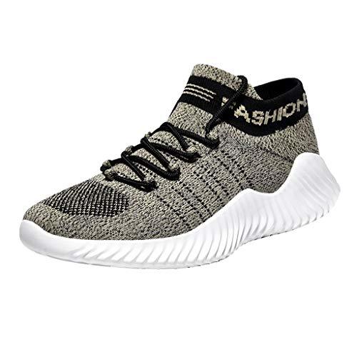 Herren Sportschuhe Socken Schuhe Sommer Freizeitschuhe Fly Knit Atmungsaktive Laufschuhe Schnürschuhe Soft Plateauschuhe Turnschuhe Casual Sneaker, Khaki