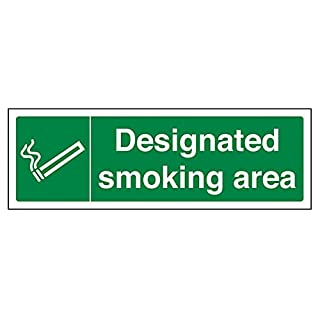 VSafety Designated Smoking Area Prohibition Sign - Landscape - 300mm x 100mm - 1mm Rigid Plastic