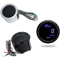 Tacómetro Medidor Tacómetro Digital Tach manómetro para Auto Coche 52mm 2in LCD 0~ 9999RPM Luz de aviso negro qbbrt