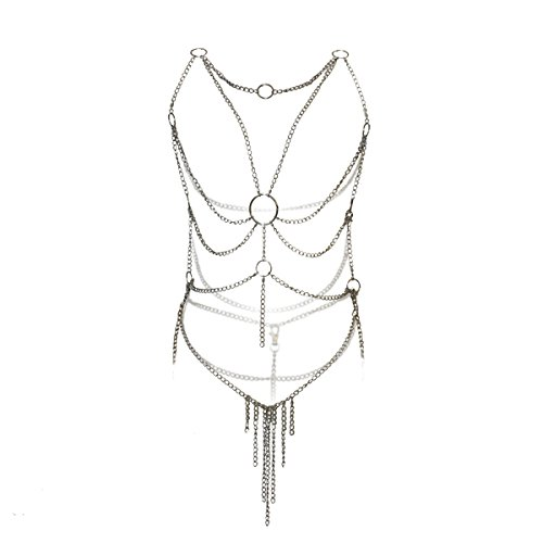 Adesugata Damen Körperschmuck-Kette / Dessous, sexy, mit Ringen und Ketten (Ketten-dessous)