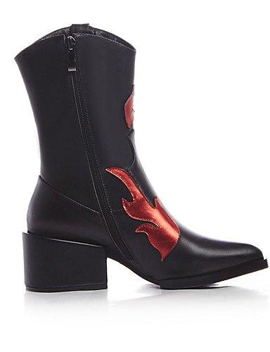 CU@EY Da donna-Stivaletti-Formale / Casual-A punta / Stivali da cavallerizza / Stivali-Quadrato-Pelle-Nero black-us7.5 / eu38 / uk5.5 / cn38