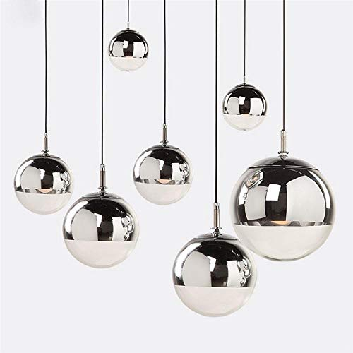 s Silver Mirror Ball Hanglamp Globe Glass Led Lamp Kitchen Living Room Bedroom Home suspension luminaire,Dia 15cm ()