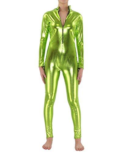 Kostüme Frauen Bodysuit Lange Ärmel Overall Metallisch Kopflos Catsuit Catwoman Overallkostüm Clubwear Blassgrün XXL (Spandex Catsuit)