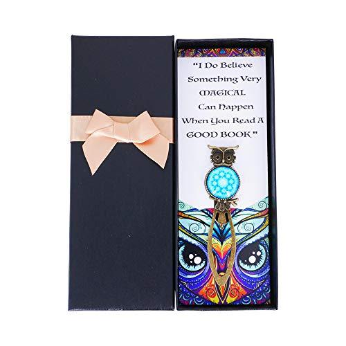 Sincerelyforyou - Segnalibro con clip in metallo a forma di gufo magico, in confezione regalo vintage, per insegnanti, donne (blu)