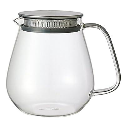Kinto Unitea inoxydable One Touch Théière 720ml. résistant à la chaleur Théière en verre avec filtre en acier inoxydable et couvercle.