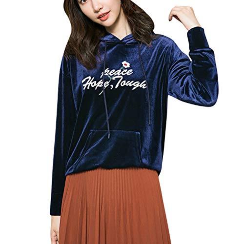 DAY.LIN Haut à Capuche Femmes T-Shirts Top T-Shirt Chemisier Impression de Lettres T-Shirt Pull à Manches Longues Blouse Pullover Tops Pas Cher Pullover Sweatshirt