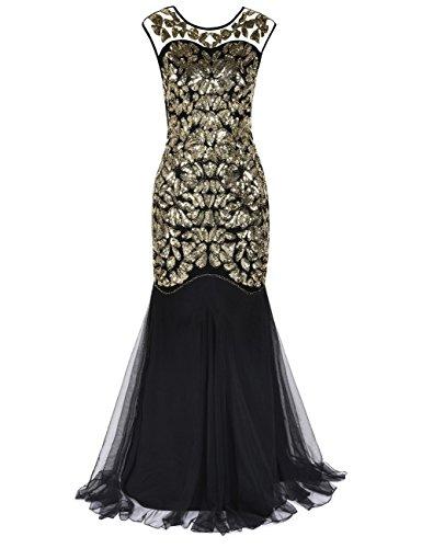 Kayamiya Damen Gatsby Kleid 1920er Perlen Pailletten Maxi Lange Charleston Meerjungfrau Abendkleid 36-38 Gold