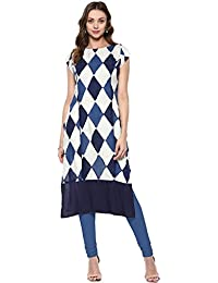 Ives White & Blue Viscose Rayon Printed Kurti For Women