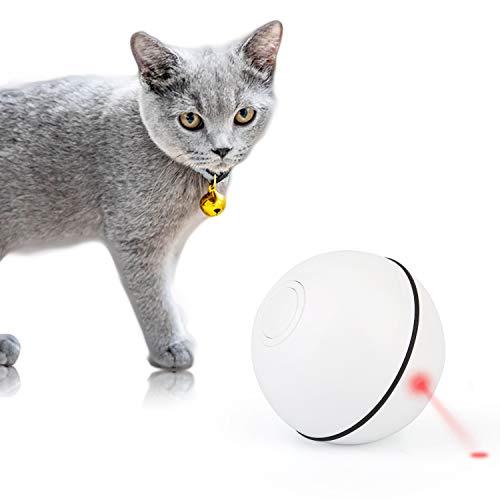 Mitening Katzenspielzeug Ball Elektrisch, 360-Grad Rotierende Katzen Spielsachen Bälle mit LED Licht Automatische Rolling Katzenkugeln Wiederaufladbare Interaktives Spielzeug für Kätzchen Welpen