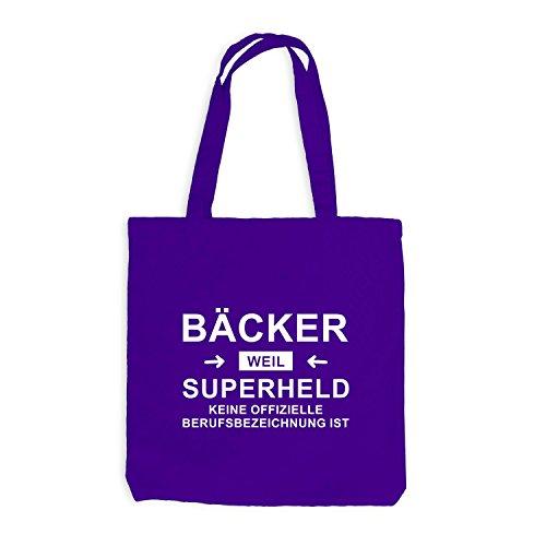 Jutebeutel - Bäcker Superheld - Hero Beruf Violett