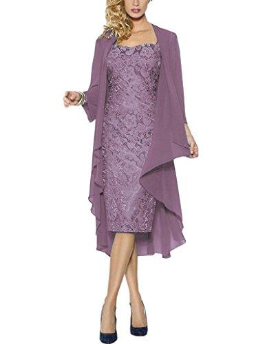 HWAN Spitze Mutter der Braut Kleider Kurze formale Kleider mit Chiffon Jacke Wraps Mauve