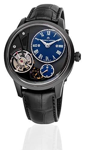 Maurice Lacroix Masterpiece Gravity Limited Herren-Armbanduhr Analog Automatik mit schwarzem Krokolederband limitiert 40 Stück MP6118-PVB01-410-1