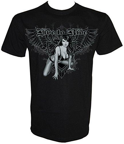 Live To Ride Pin Up T-Shirt in Größe S - 5XL Schwarz