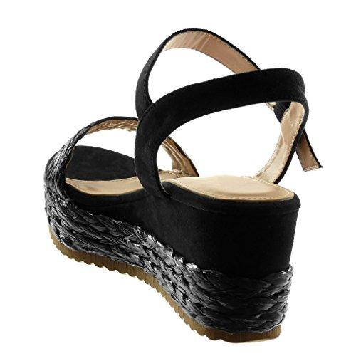 68faebabbe3bf2 Cheville 6 Compensé 5 Angkorly La Plateforme Noir Avec Tréssé Cm Sandale  Talon De Femme Chaussure ...