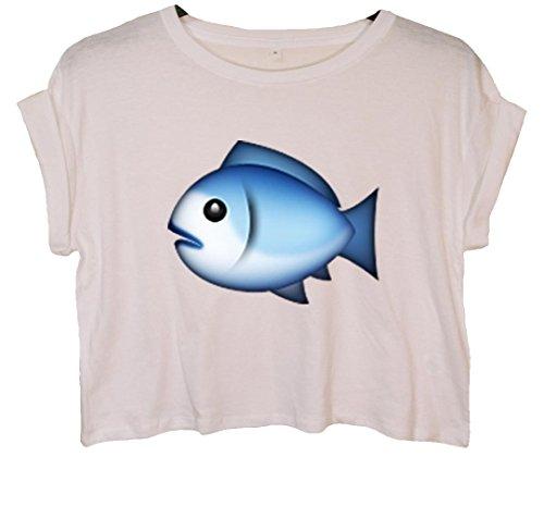 Fish Emoji Bauchfreies Crop Top Weiß