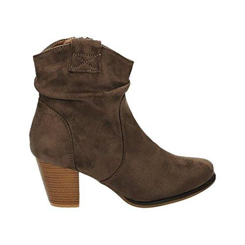 Damen Stiefeletten Cowboy Western Stiefel Boots Schlupfstiefel Blockabsatz Schuhe 65 Khaki