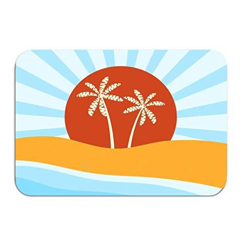 oor mat Coast Beach Palm Trees Sunrise Modern 16 24 inch ()