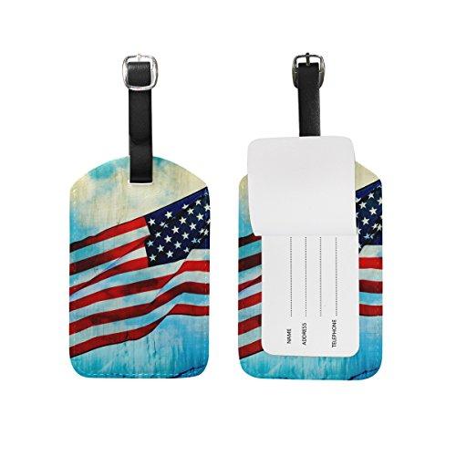 ALAZA Sventolando la bandiera americana d'epoca Etichetta bagaglio in pelle PU Bag Valigie Bagagli Etichetta