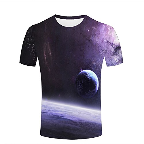 Mens Womens 3d Print T Shirtsgalaxies and planets Graphic Fashion Couple Tees Top Short Sleeve A