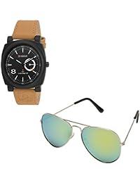 Magjons Fashion Black Analog Watch And Sunglassses Combo For Men And Women - B0735CC3G8