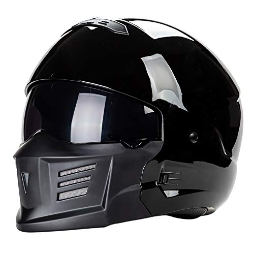 Sunzy Casco da Motociclista da Uomo, Maschera facciale Rimovibile da Uomo e da Donna, Casco Integrale da Motociclista a Faccia Aperta Approvato Bot/Nero,M