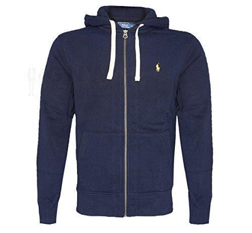 ralph-lauren-polo-mens-fleece-hoodie-jumper-grey-size-smlxlxxl-m-navy-yellow-logo