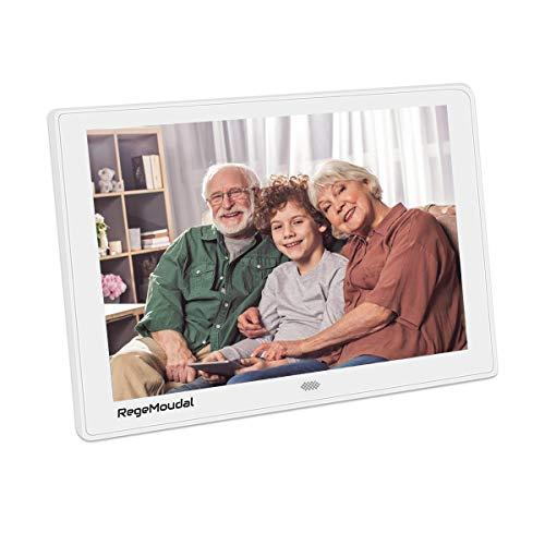Digitaler Bilderrahmen, RegeMoudal 10 Zoll 1080P HD IPS LCD Panel Ultra Breitbild mit Fernbedienung, Unterstützt 128G SD und USB und Multi-Format für Video Musik FotoBilder und Videos