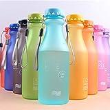 laonBonnie Outdoor-Sport-Wasserflasche Portable auslaufsicher Candy Farbe Kunststoff-Wasserflasche mit Seil Camping Travel Water Cup-Random