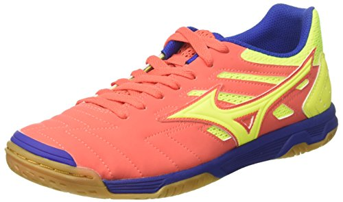 Mizuno Sala Classic 2 in in, Scarpe da Calcetto Indoor Uomo, Multicolore (Hotcoral/SafetyYellow/Surftheweb) 44 EU