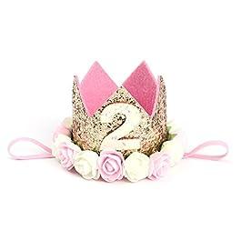 Cappellino compleanno 2 anno YeahiBaby Fascia Tiara neonata con fiori per decorazione della festa compleanno